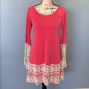 JUDITH MARCH dress with cream crochet trim small